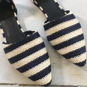 Jenni Kayne Navy Blue & White Pointed Flat